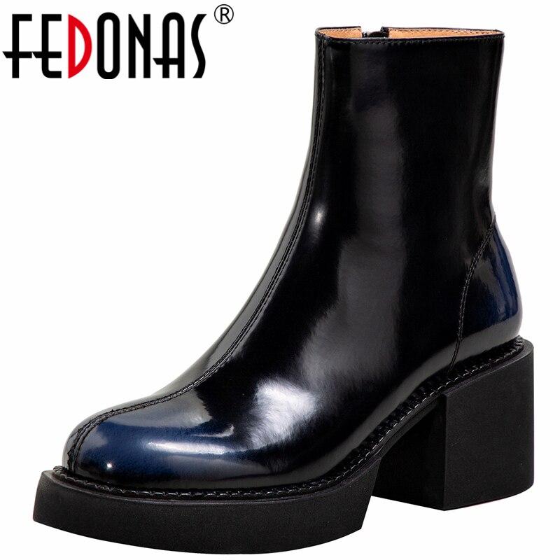 FEDONAS جديد وصول موجزة النساء حذاء من الجلد جلد طبيعي جولة تو ساحة الكعوب العمل عادية الخريف الشتاء أحذية امرأة