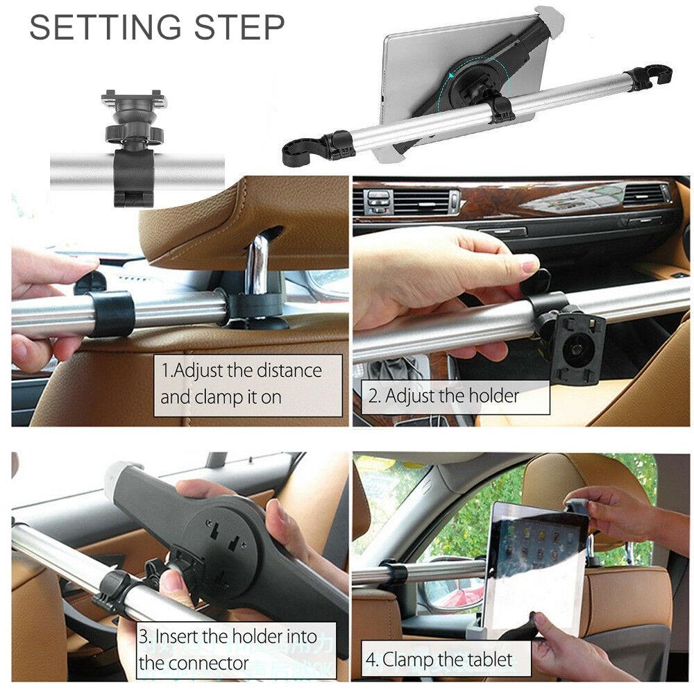 Купить с кэшбэком Tablet Holder Adjustable Mount For Tablet 7.0 To 14.5 inch Car Headrest Mount Stands For iPad Samsung Surface Pro Tablet Support