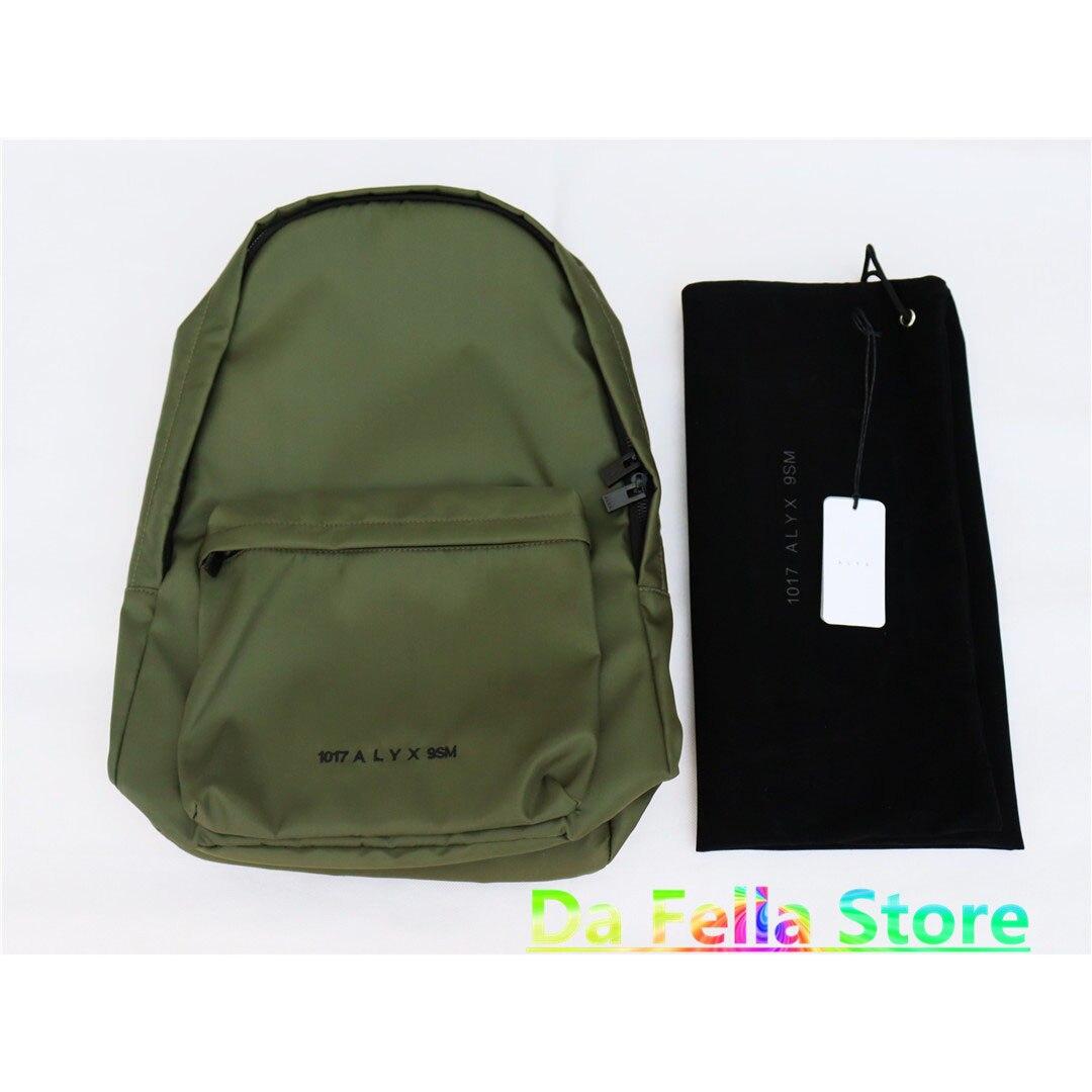 حقائب الظهر أليكس الخضراء 2021 الرجال النساء 1:1 عالية الجودة الجاكار 1017 حقيبة أليكس 9SM ثلاثية الأبعاد جيب خارجي الصلبة الكلاسيكية السلامة مشبك