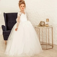 eightree white lace flower girls dress for wedding party beading girls first holy communion dresses girls special occasion dress
