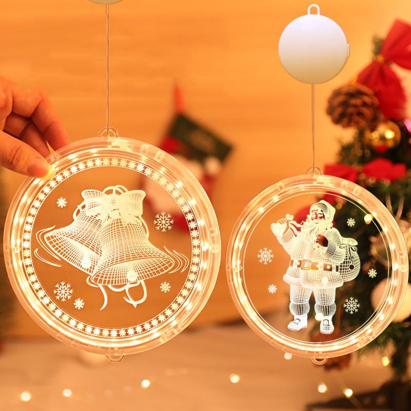 Светодиодные Рождественские огни, 3D подвесные огни в виде дисков, колокольчики, снежинки, батарея, гирлянда, Рождественская елка, украшение ...
