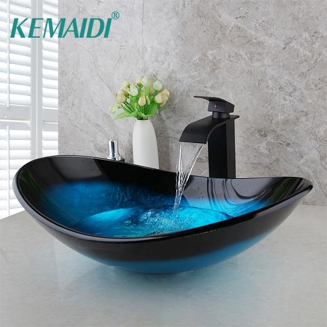 KEMAIDI-صنبور شلال من الزجاج المقوى ، مطلي يدويًا ، حوض غسيل ، صنبور نحاسي ، خلاط صنبور