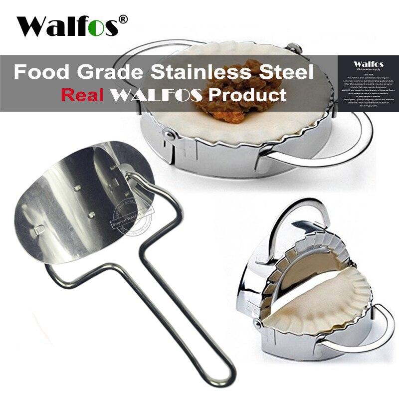WALFOS 2 piezas de acero inoxidable Dumpling molde envoltura prensador de masa cortador de pastel ravioles Dumpling molde herramientas de cocina