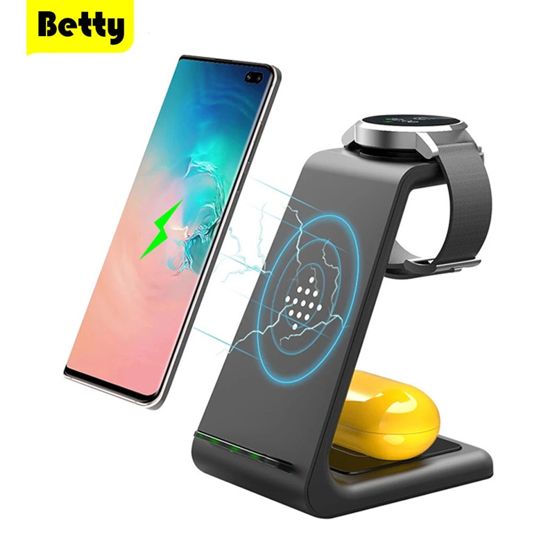 Betty 15W Fast Wireless Charger Station Charging For phone Stand Adapter Samsung Watch Galaxy Buds i