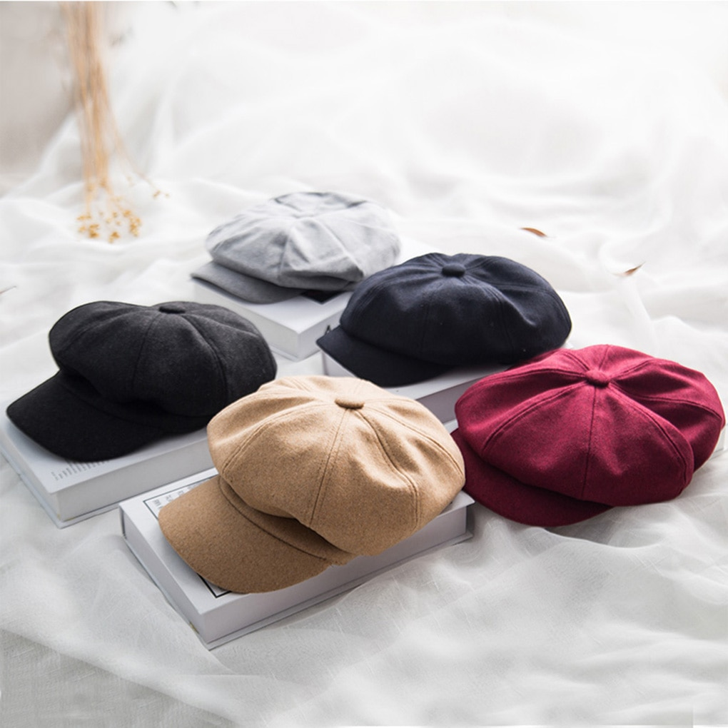 Women Berets Winter Autumn Octagonal Beret Caps Stylish Artist Painter Newsboy Hats Wool Cotton Blen