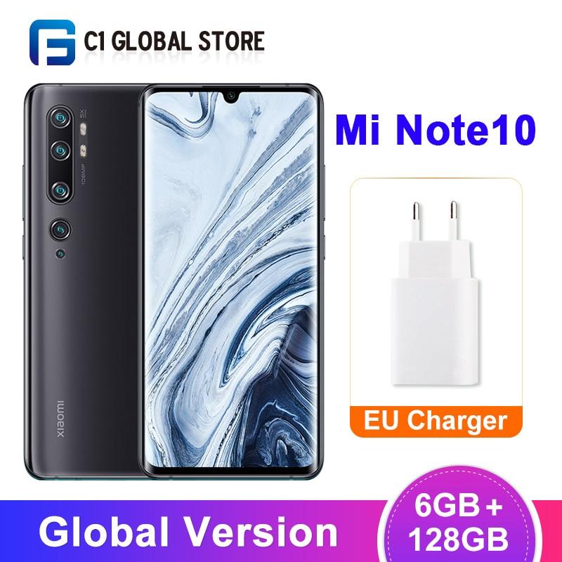 Xiaomi-Smartphone Mi Note 10, versión Global, 6GB y 128GB, Penta cámara de 108MP, Snapdragon 730G Octa Core 6,47 pulgadas, Pantalla AMOLED de 5260mAh
