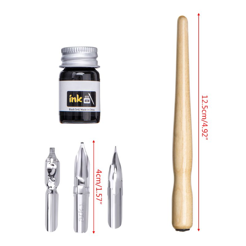 Manga Dip Pen Set Comic Pro Drawing Kit 3 Nibs Wood Holder Ink Calligraphy Tools