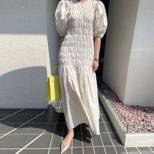 Maxi Dress Women 2020 Summer Round neck Heavy Industry Pleated Design Big Swing Type Bubble sleeve High waist Dress Female BW222