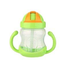 280ml Baby Bottle Drinking Straw Milk Fruit Juice Water Feeding Kids Infant Silicone Milk Nibbler Safe Drink Bottle Handle Spout