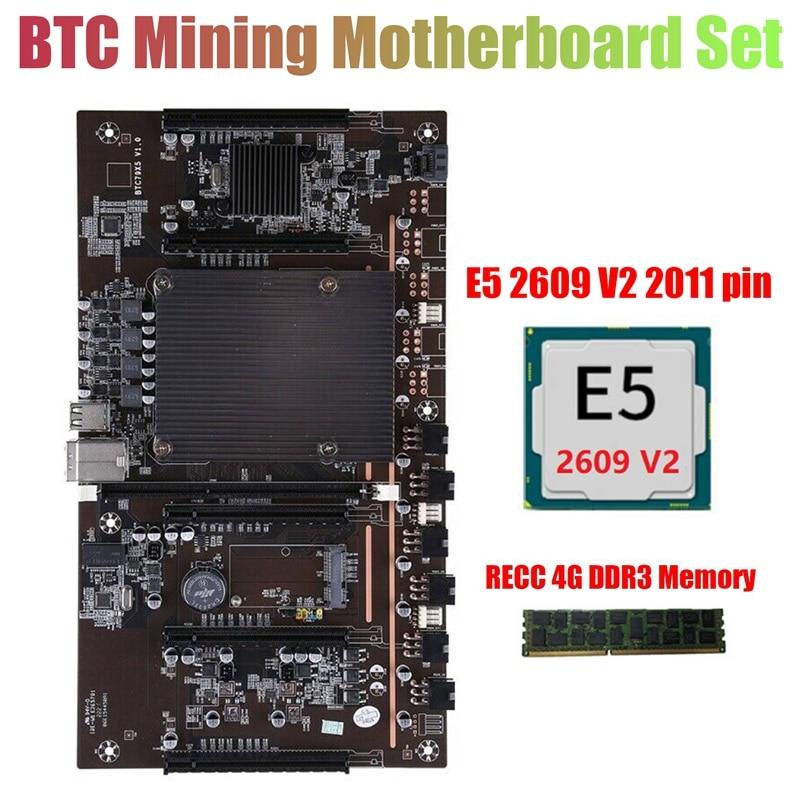 X79 H61 BTC التعدين اللوحة مع E5 2609 V2 CPU + RECC 4G DDR3 RAM LGA 2011 DDR3 دعم 3060 3070 3080 بطاقة جرافيكس