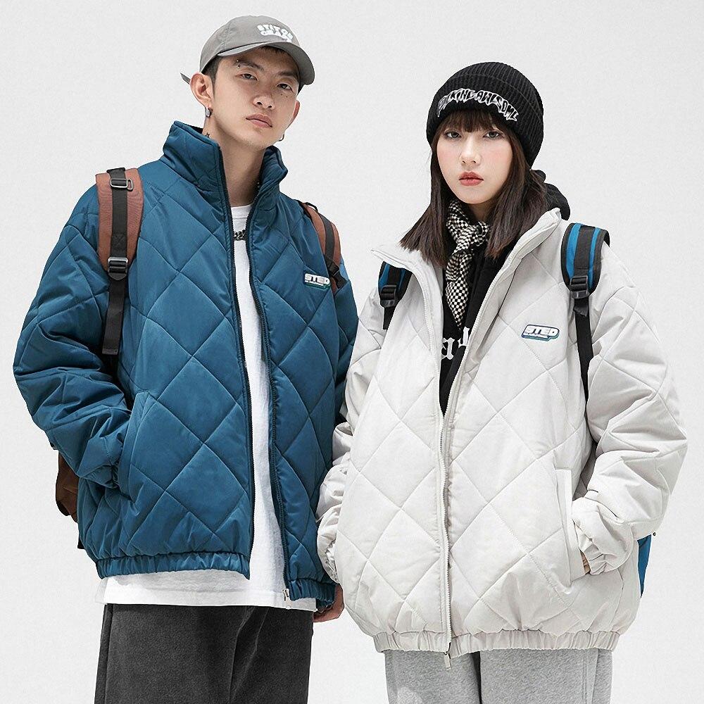 Мужская зимняя куртка в Корейском стиле, белый пуховик, Женская Повседневная Молодежная теплая однотонная верхняя одежда, свободная Толста...
