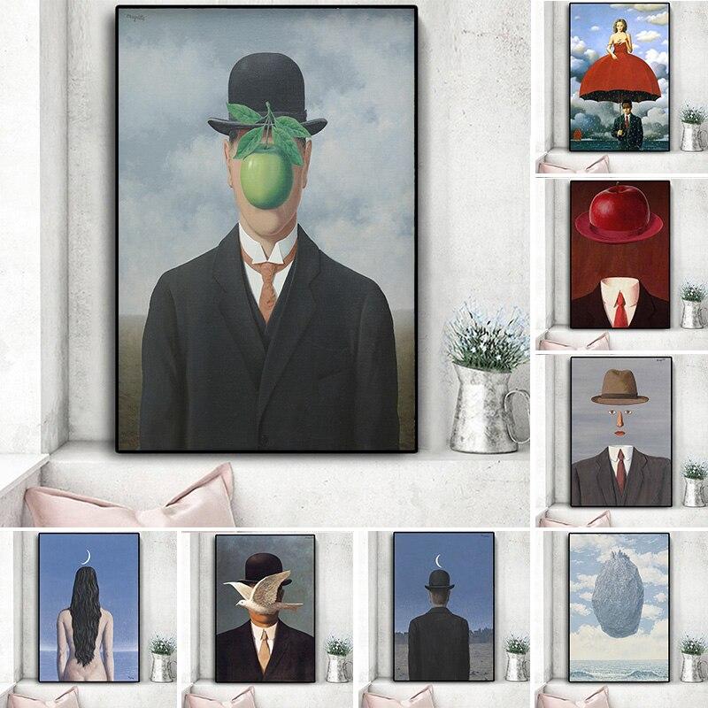 Rene Magritte lienzo pintura surrealismo obra clásica reproducción carteles e impresión pared arte imagen para sala de estar Cuadros