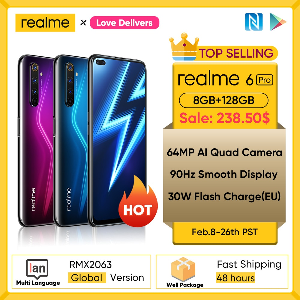 realme 6 Pro Unlockphone 8GB RAM 128GB ROM Mobile Phone Snapdragon 720G 4200mAh Battery 30W fast Change 64MP Camera Smartphones