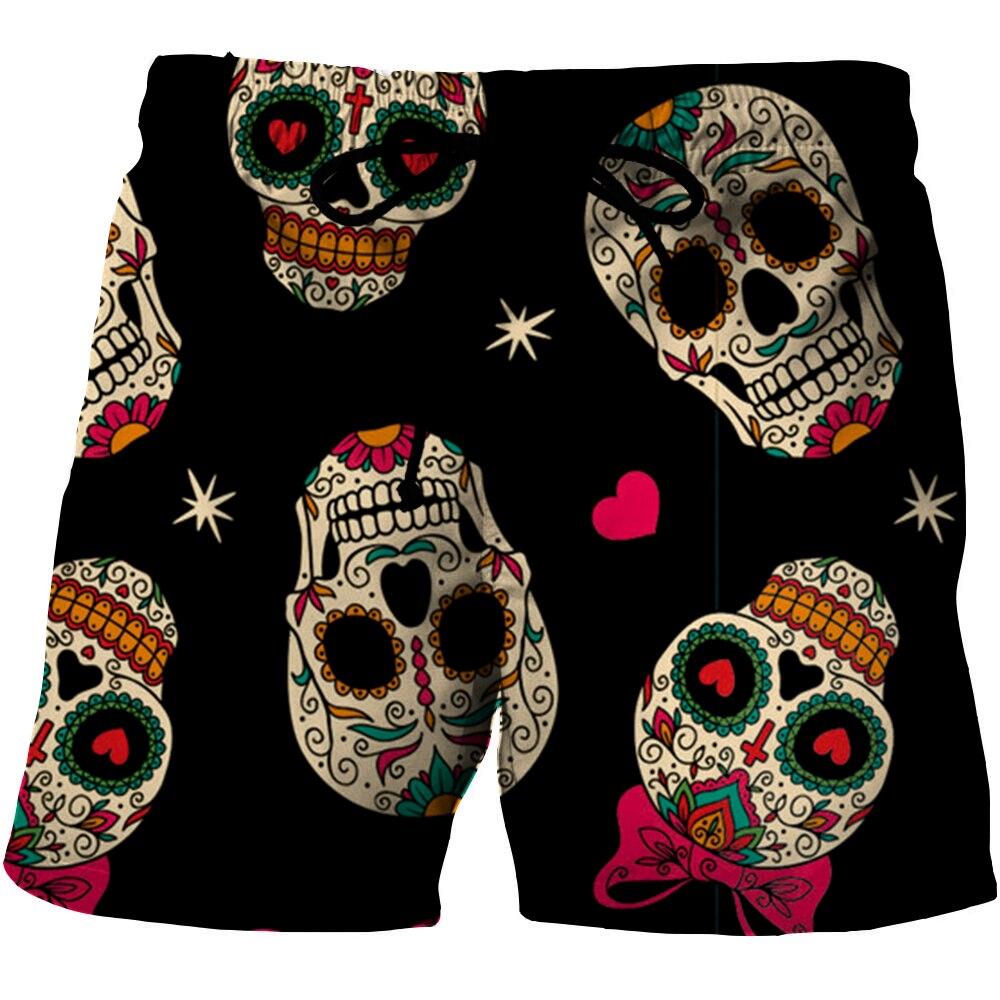 Шорты пляжные мужские/женские с 3D-принтом черепа, короткие штаны-скелетоны, повседневные шорты, плавки для плавания