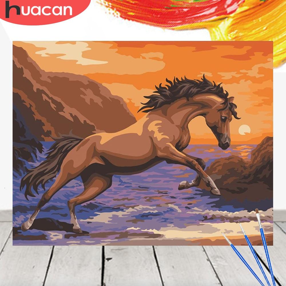 HUACAN cuadro por números Kit caballo pintura acrílica sobre lienzo pared arte Animal pintado a mano decoración del hogar DIY regalo