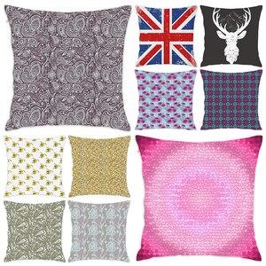 [Douladou]Abstract Vintage Flowers Sofa Decoration Home Pillow Case Polyester Decorative PillowcaseThrow Pillow Case 45x45CM
