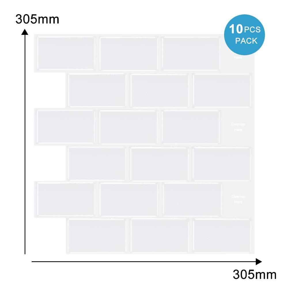 Vividtiles 12*12 inch Self adhesive Waterproof Heatproof Vinyl Wallpaper 3D Peel and Stick Subway Tiles - 10 Sheet