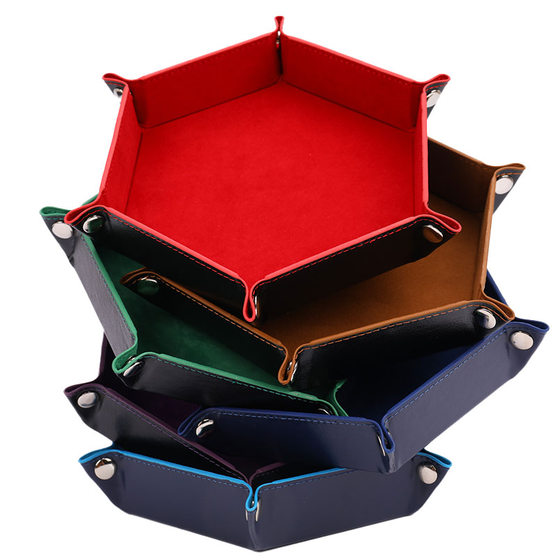 Foldable Dice Tray Box PU Leather Folding Hexagon Coin Square Tray Dice Game 6 Colors