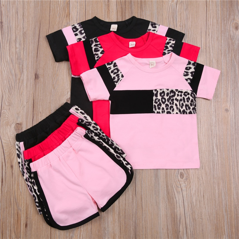 1-5Y Newborn Baby Girls Soft Short Sleeve Leopard Print Patchwork Pink/Red/Black Tops Shorts 2Pcs Summer Outfits Clothes Set