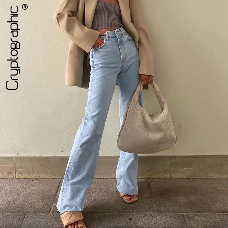 Cryptographic Casual Fashion Straight Leg Women's Jeans Denim Bottom Harajuku Boyfriend Long High Waist Baggy Jeans Fall Pants