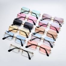 Traveling Style Fashion Rimless Mountaineering Sunglasses Trendy Small Rectangle Sun Glasses UV400 S