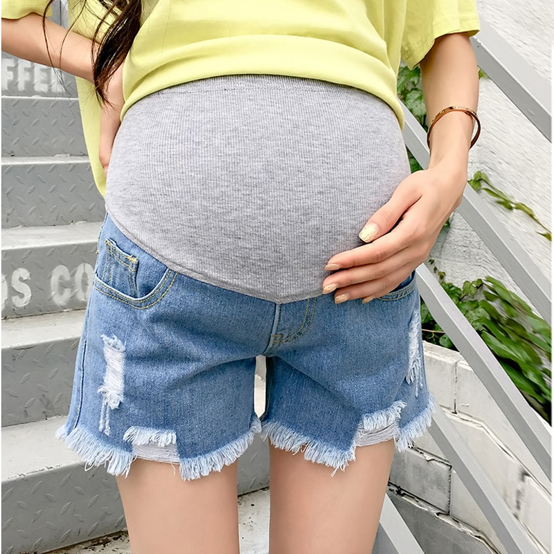 Hot Sale 2020 Summer New Arrival Maternity Fashion Short Jeans Denim  Pants For Pregnant Women Pregnancy Clothes