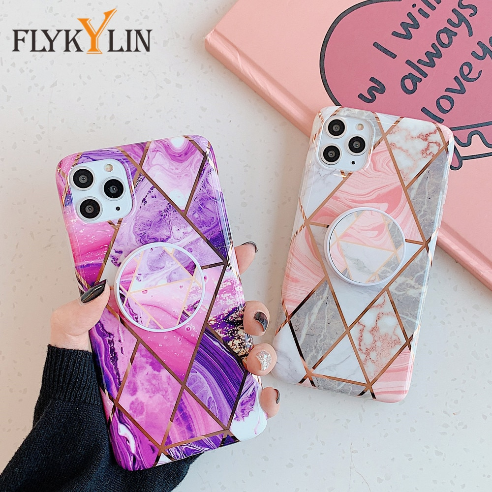 Funda FLYKYLIN con soporte para Samsung Galaxy A41 A51 A71, carcasa trasera con revestimiento de mármol geométrico, arte de silicona suave IMD, funda para teléfono
