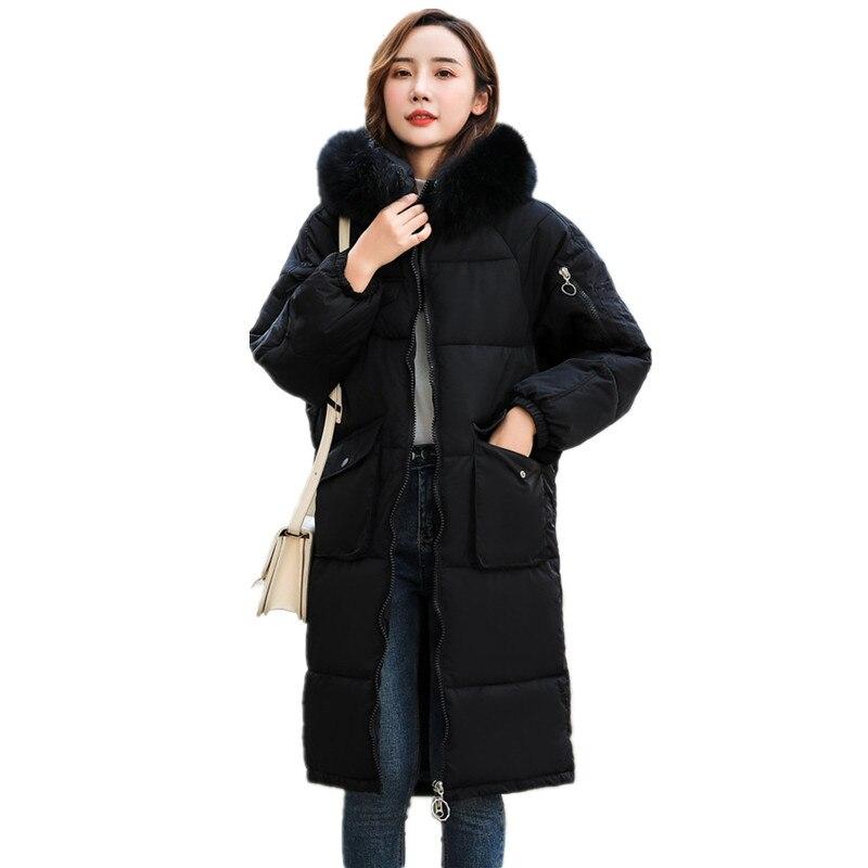 Женская хлопковая одежда, большой меховой воротник, теплое зимнее пальто, женское однотонное пальто-парка, приталенное модное плотное паль...