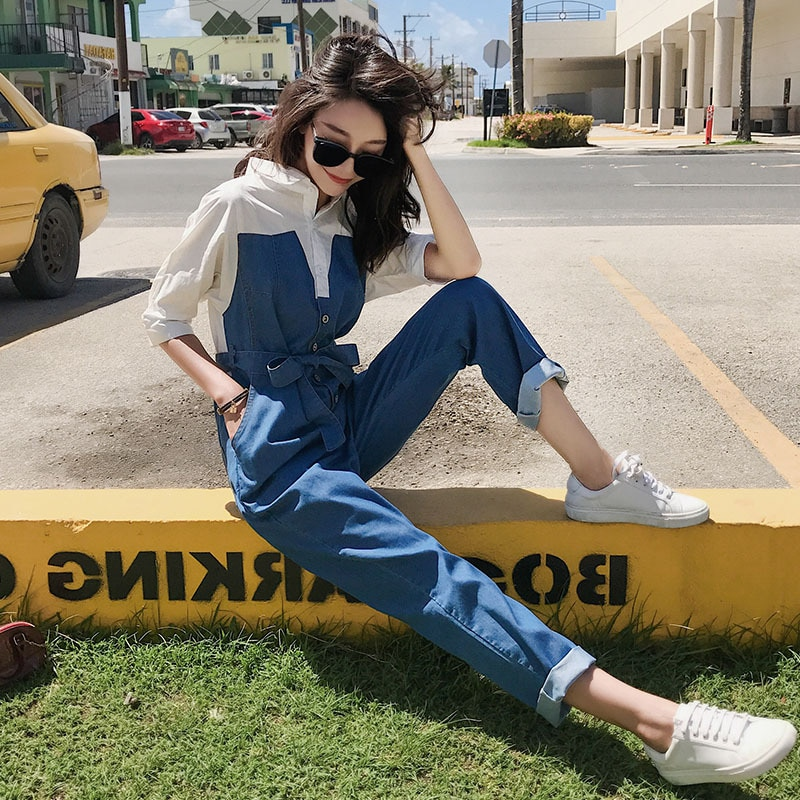 Denim Jumpsuit Korean Style Slim Stitching Fake Two-piece Jumpsuit High-waist Trousers Spring and Autumn Women's Fashion 2020