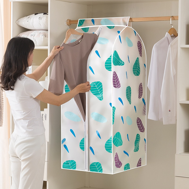 Nuevo traje para casa bolsa de almacenamiento engrosada PEVA Scrub Protector lavable polvo cubierta de la ropa organizador bolsa de ropa bolsas colgantes
