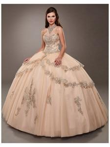CloverBridal Beaded Halter Neckline Champagne vestidos de 15 años 2021 Glitter Tiered Skirt vestido quinceanera 15  WQ9828