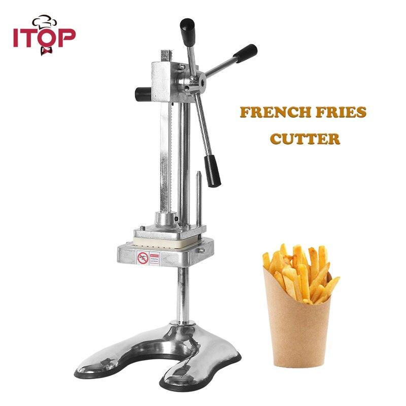 Cortador Vertical de patatas fritas ITOP, máquina trituradora de patatas fritas y zanahorias, cortador de patatas fritas, herramientas de frutas vegetales, 6mm, 9mm, 13mm