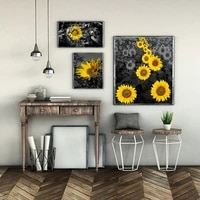 sunflower gray tone canvas painting modern minimalist plant poster living room dining room porch wall art decoration pictures