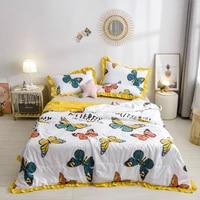 ruffles duvet summer washsed cotton throw blanket 1pc patchwork quilts home bed cover 200230 butterfly cool bedspread pastoral