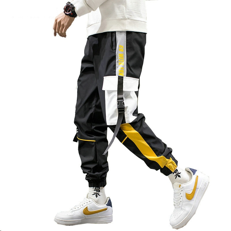 Streetwear Men Black Joggers Pants 2020 Mens Big Pockets Ribbons Hiphop Cargo Male Overalls Sweatpants Clothes