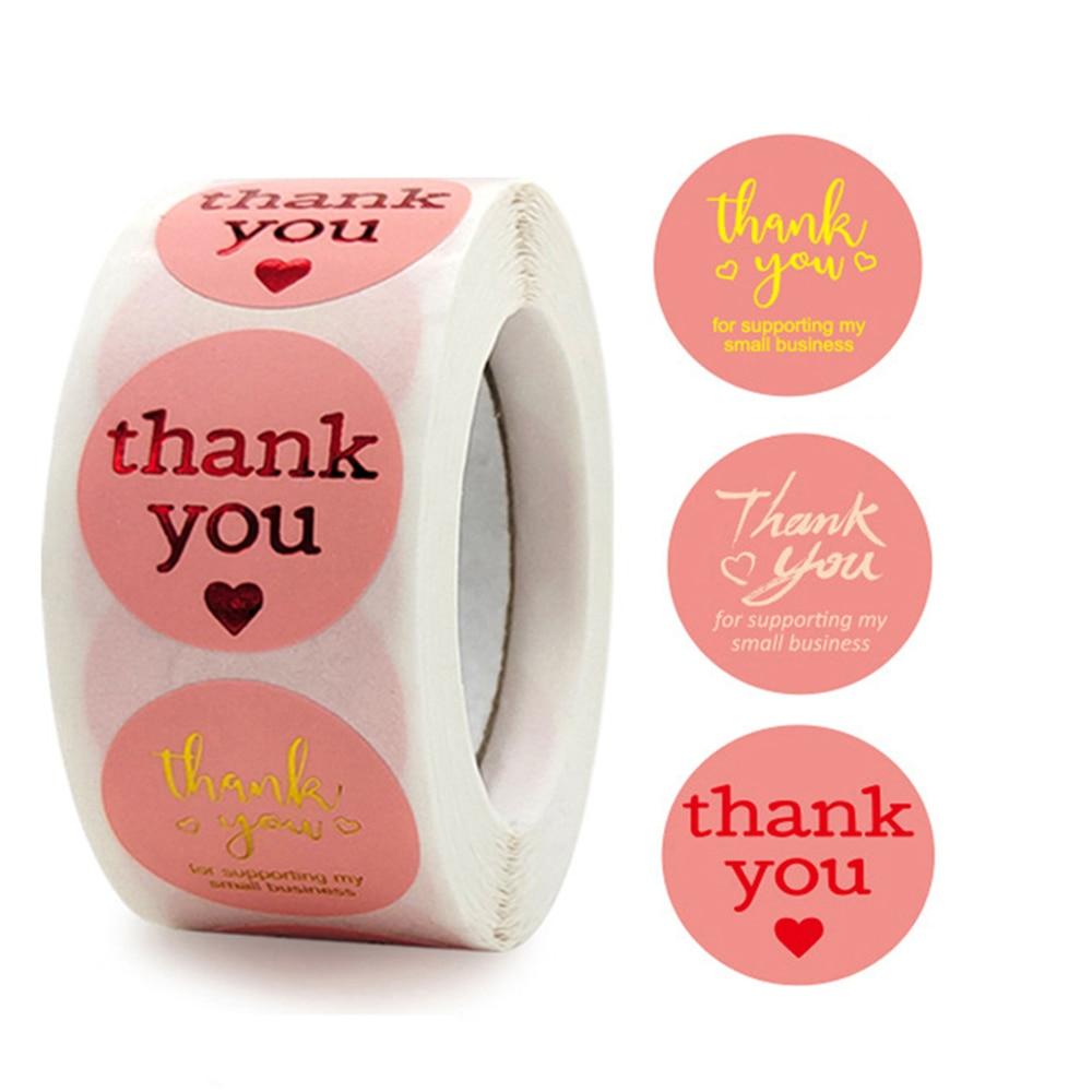 100-500-uds-gracias-pegatina-para-apoyar-etiquetas-empresariales-etiqueta-engomada-de-oro-rosa-de-paquete-de-suministro-de-papeleria