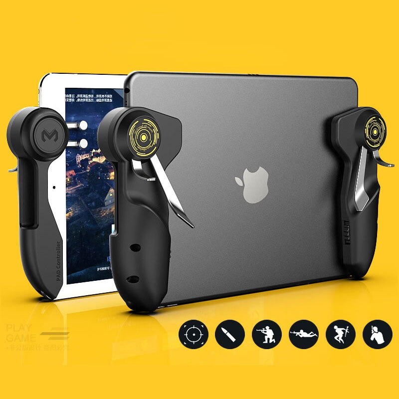 Mobile PUBG Game Controller For Ipad Tablet Six Finger Game Joystick Handle Aim Button L1R1 Shooter