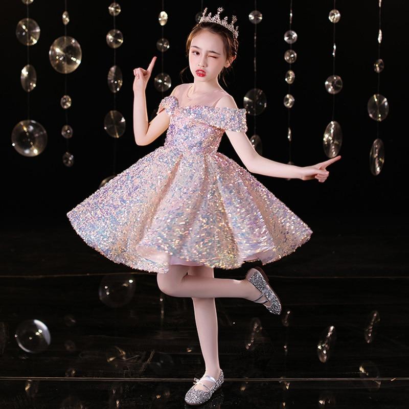 فستان سهرة بناتي على شكل زهرة مطرز بالترتر توتو فساتين للأطفال أداء البيانو Vestidos فساتين أنيقة للأطفال