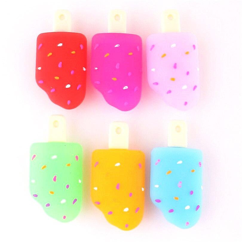 2 piezas Kawaii helado 3D silicona dijes colgantes para mujer chica DIY decoración bolsa llavero fabricación de joyas