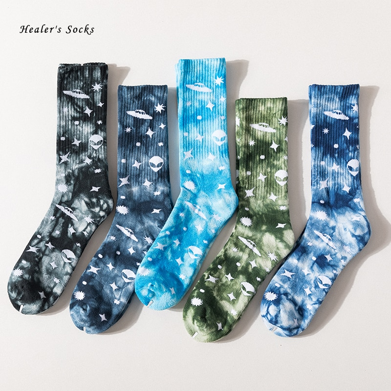 AliExpress - New Fashion Men and Women Socks Cotton Colorful Star Alien Tie-dye Harajuku Street HipHop Skateboard Happy Funny Weed Tube Socks