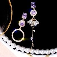 new purple crystal irregular drop earrings for women 925 silver long earrings korean style transparent jewelry 2020 new popular