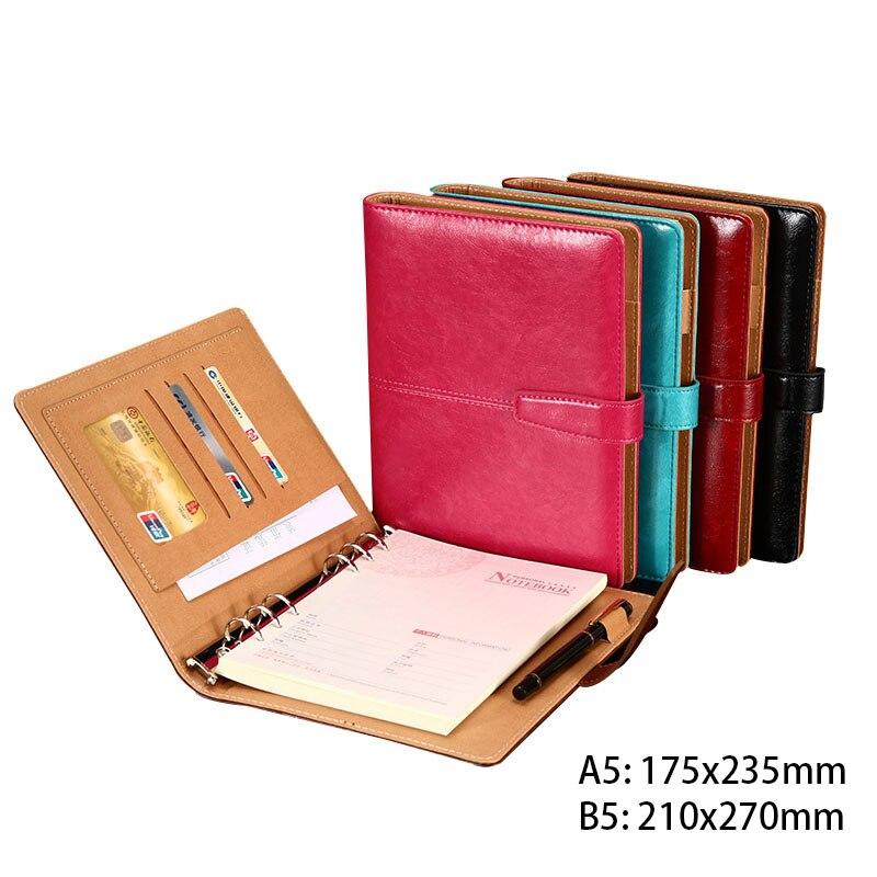 Regalos de negocios, cuaderno de cuero PU de alta calidad, diarios a5 B5 A4 A6 A7, cuadernos forrados recargables