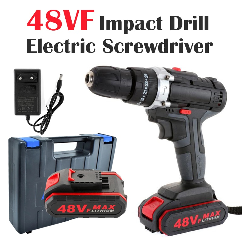 48VF Cordless Impact Driver Electric Drill Screwdriver Double Speed Electric Wrench with Lithium-Ion Battery Power Tool Set