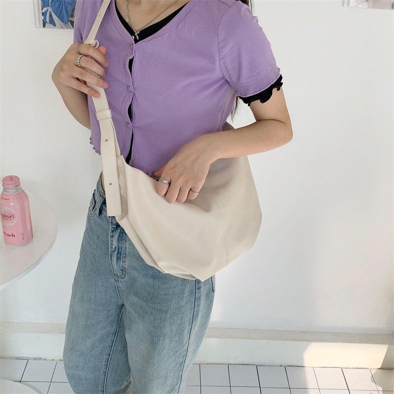 High Quality Soft PU Leather Women Single Shoulder Bag Simple Solid Color Female Large Capacity Half-moon Bag Sac Main Femme