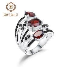 Gema BALLET 4.0Ct anillo de piedra rojo granate Natural para las mujeres Plata de Ley 925 anillo de tres piedras apilable joyería fina