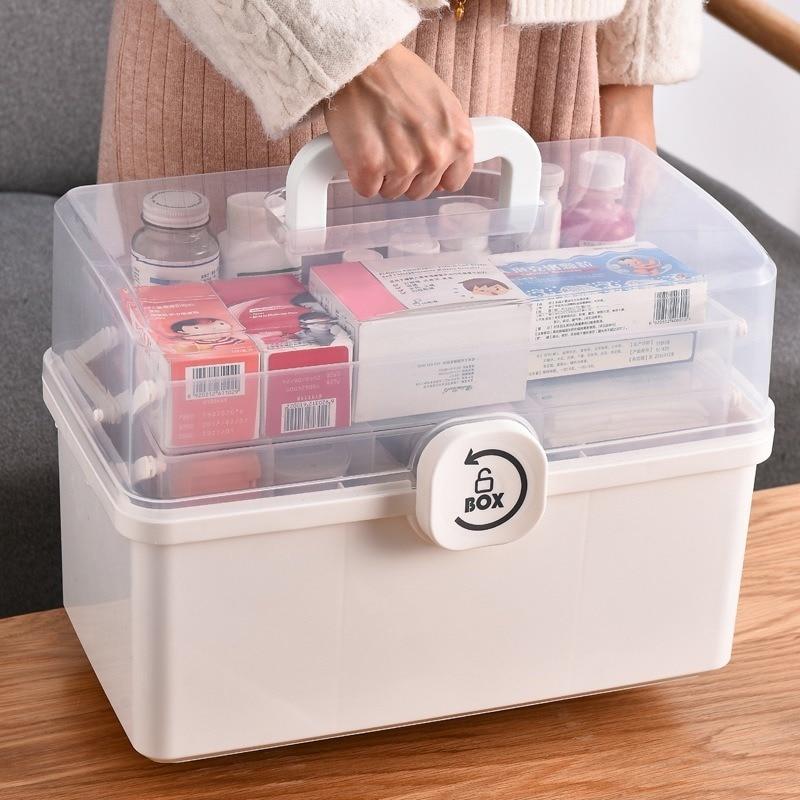 Коробка медицинская портативная с ручкой, многофункциональный органайзер из пластика для аптечки первой помощи, большая вместимость