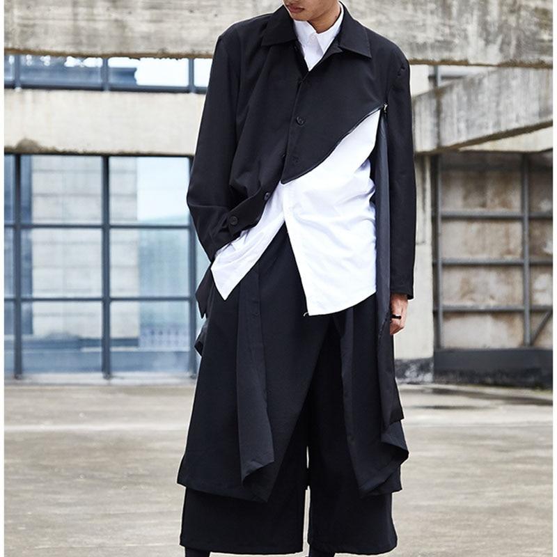 Men Japan Streetwear Hip Hop Punk Gothic Black Harem Pant Male Fashion Splice Loose Wide Leg Skirt Trouser Kimono Men Fashion