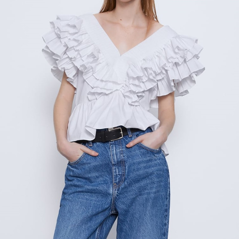 2020 Za camisa blanca sin mangas cuello pico botón trasero volante plisado Tops mujer elegante voluminosa popelina blusa verano