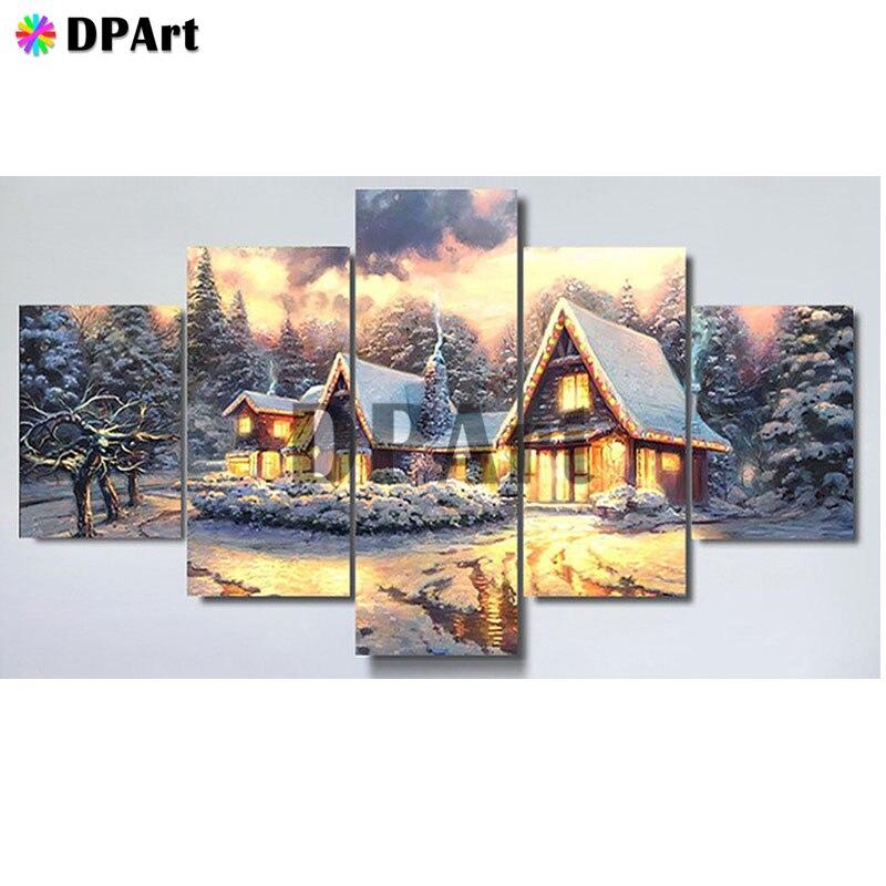 5 uds pintura de diamante 5D completo cuadrado/redondo taladro nieve casa bosque Daimond pintura con mosaico bordado punto de cruz cristal M826