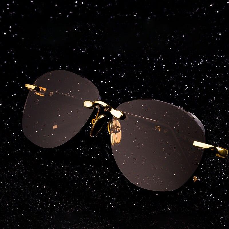 Vintage زجاج بدون إطار النظارات الشمسية الرجال النساء الرجعية الطيار نظارات شمسية الذكور الكريستال حجر عدسة مكبرة البني نظارات نظارات Oculos